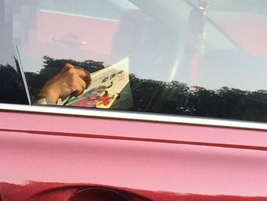 绿灯时发现旁边车里妹子在看书!书名亮了!
