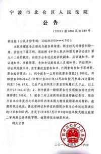 胡亚桂应诉材料送达公告