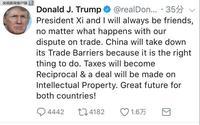 特朗普社交媒体发文:中美就知识产权问题能达成协议