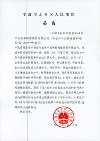 宁波甬都梅雅商贸有限公司、陈益和应诉材料送达公告
