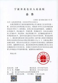 王沂应诉材料送达公告